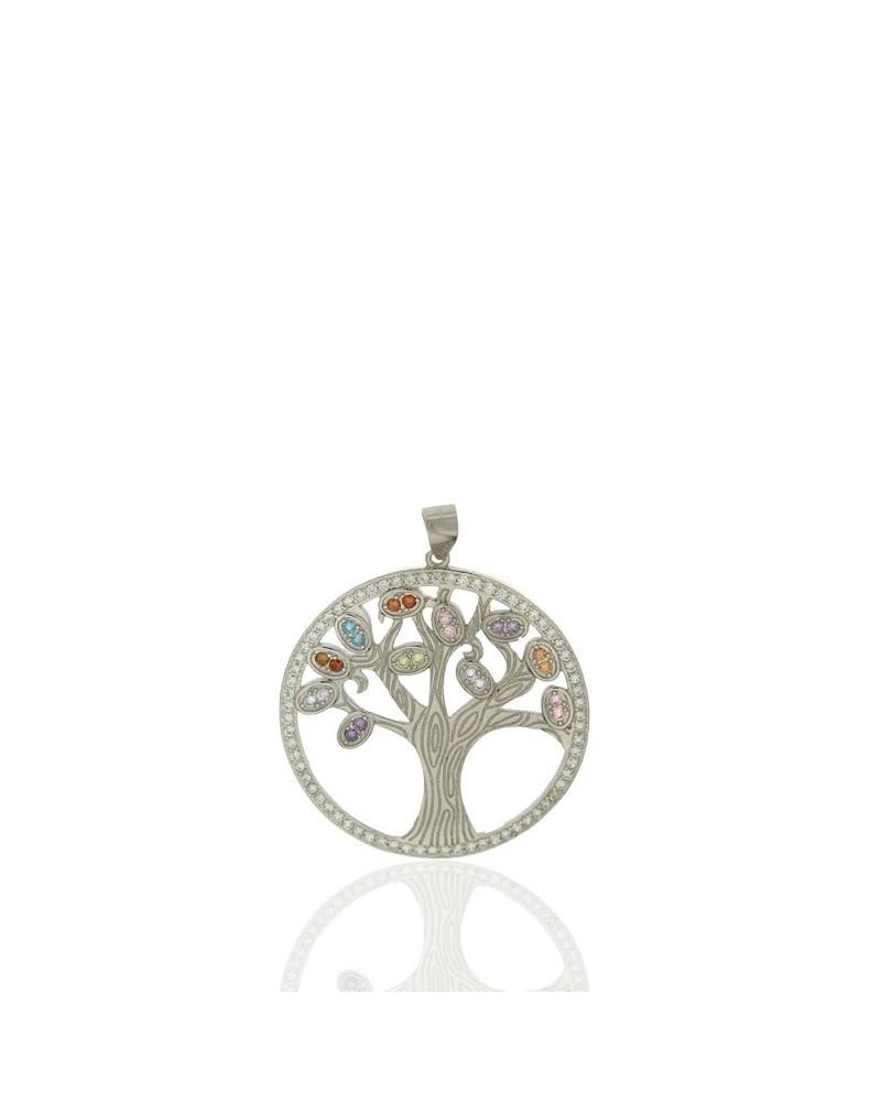 Colgante en plata rodiada con forma de árbol de la vida con circonita microengastada