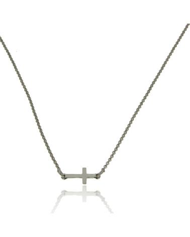 Gargantilla de plata chapada en oro con forma de cruz