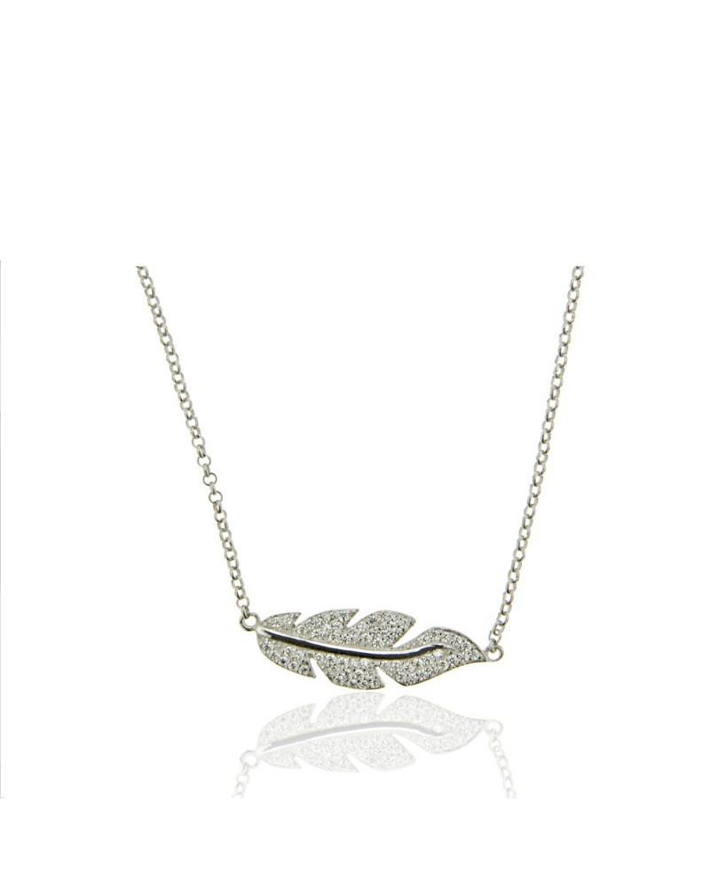 a9fec2ed30a9 Gargantilla en plata rodiada con forma de hoja y circonitas microengastadas