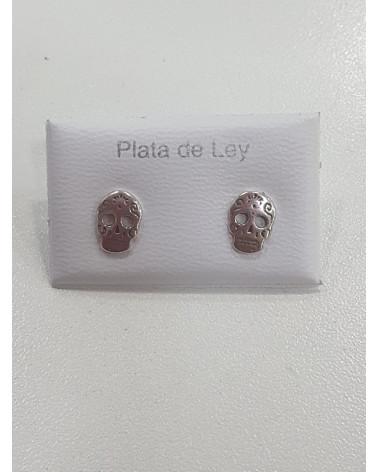 Pendientes de plata con forma de calavera mexicana