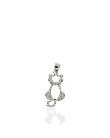 Colgante de plata con forma gato sentado circonita