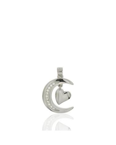 Colgante de plata con forma luna circonita corazón