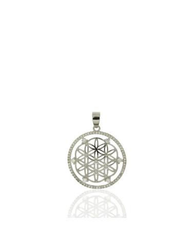 Colgante de plata con forma redondel flor circonita
