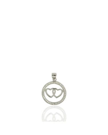Colgante de plata con forma aro 2 corazones circonita