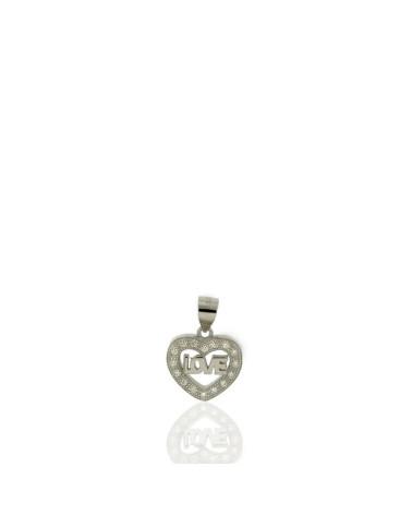 Colgante de plata con forma corazon circonita LOVE