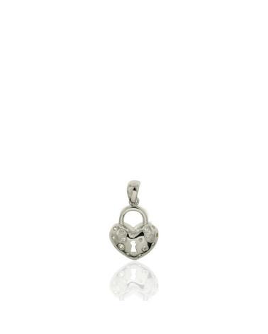 Colgante de plata con forma corazón candado circonita