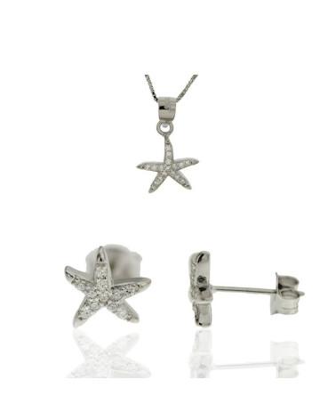 Juego de de plata rodiada con forma de estrella con circonita