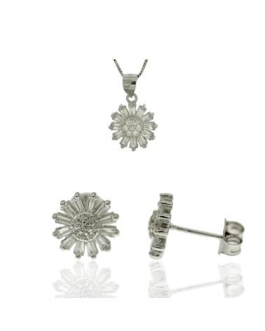 Juego de de plata rodiada con forma de flor con circonita