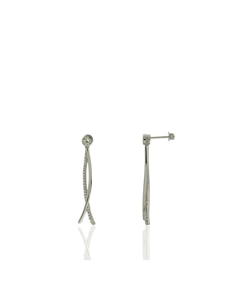 Pendiente de plata rodiada de 2 tiras con circonita microengastada de cierre de presión