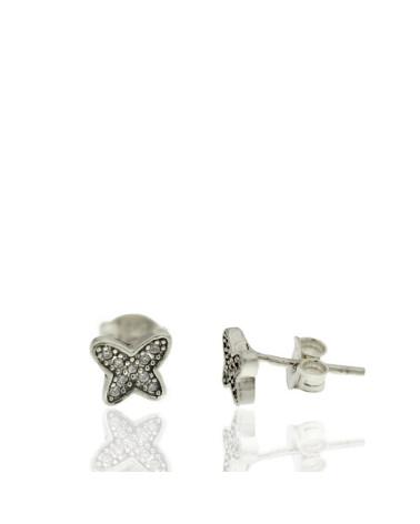 Pendiente de plata rodiada mariposa con circonitas microengastados con cierre de presión