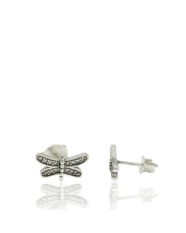 Pendiente de plata rodiada libelula con circonitas microengastados con cierre de presión
