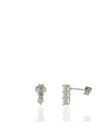 Pendiente de plata rodiada 3 circonitas microengastados con cierre de presión