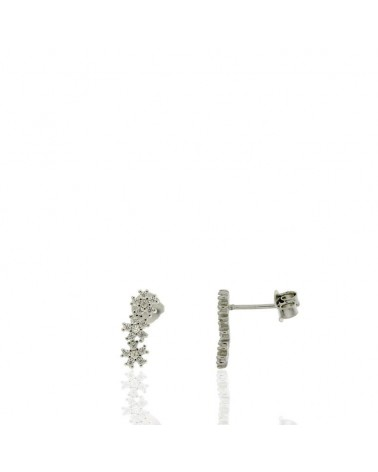 Pendiente de plata rodiada 3 flores circonitas microengastados con cierre de presión