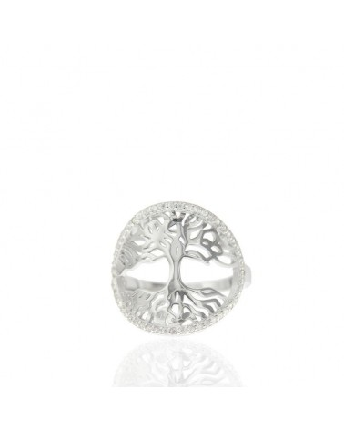 Anillo de plata rodiada arbol vida circonita microengastados