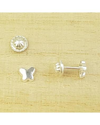 Pendiente de mariposa de plata con cierre de rosca