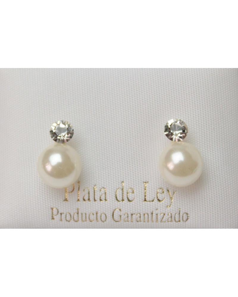 Pendiente de plata perla con circonita con cierre