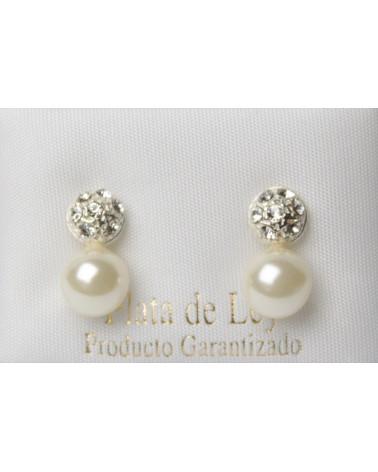 Pendiente de plata circonitas perla con cierre