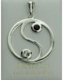 Colgante de plata yin yang circonita blanco/negro