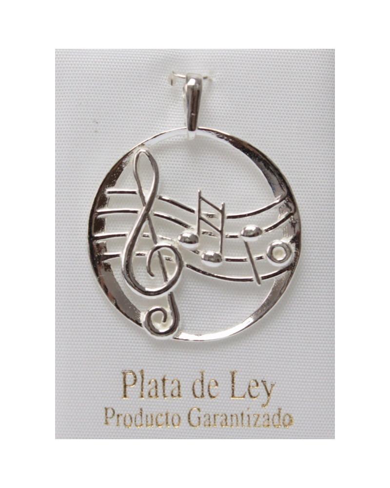 Colgante de plata clave de sol notas musicales