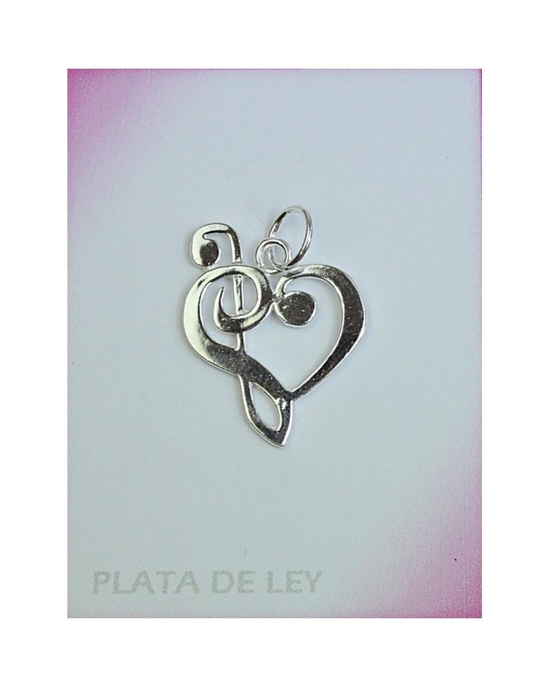 Colgante de plata de corazón clave de sol