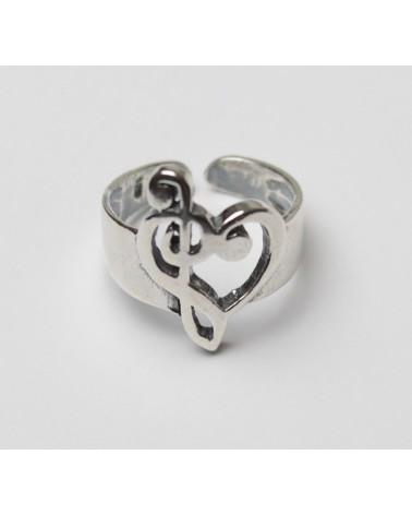 Anillo de plata de corazón clave musical