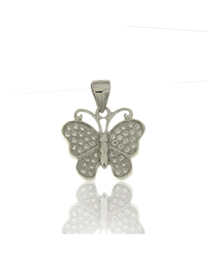 Colgante de plata de mariposa con circonita microengastada