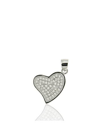 Colgante de plata de corazon con circonita microengastada