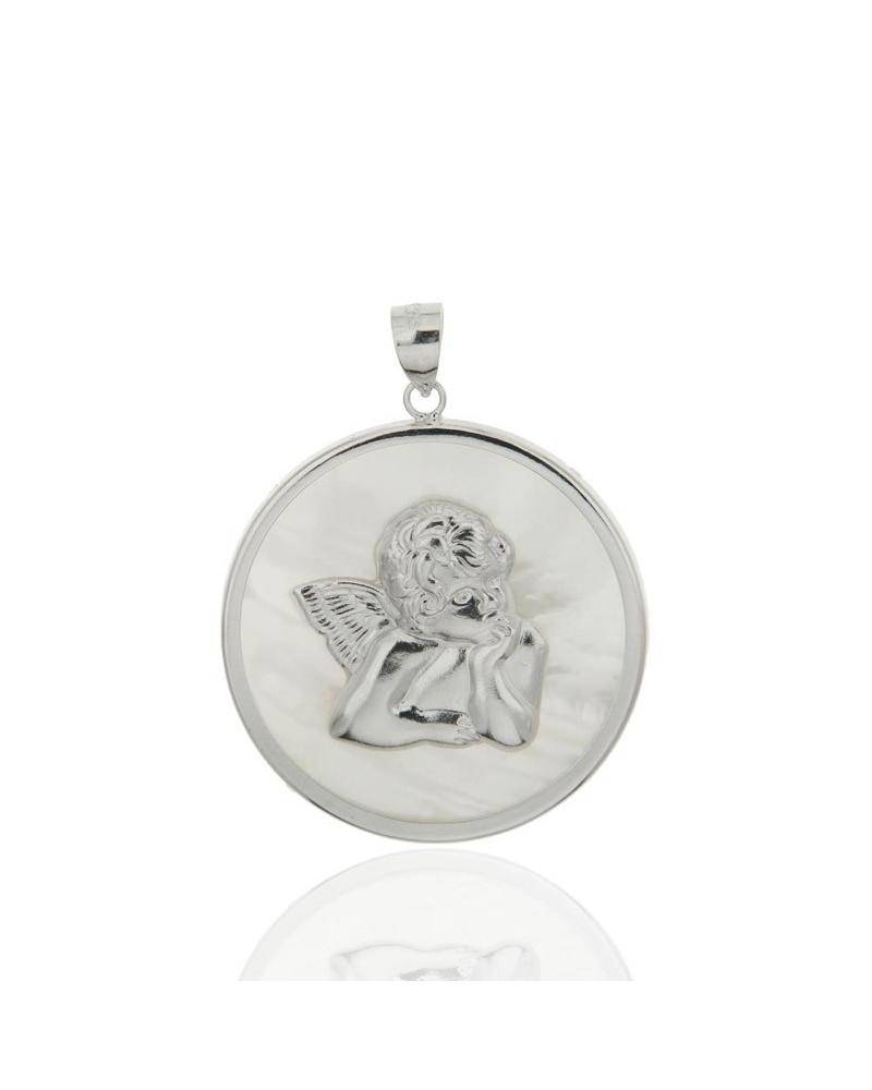 Colgante de plata rodiada de ángel con nácar