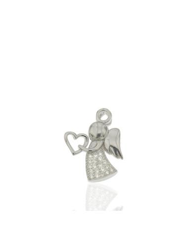 Colgante de plata rodiada de ángel con corazón con circonita microengastada