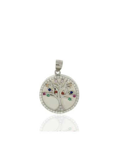 Colgante de plata rodiada de árbol de la vida con circonita chakras