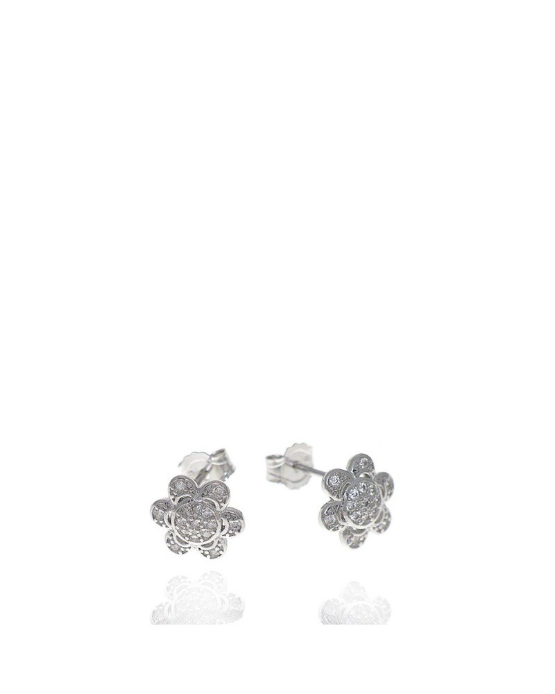 Pendiente de plata rodiada de flor con circonita microengastada cierre presión