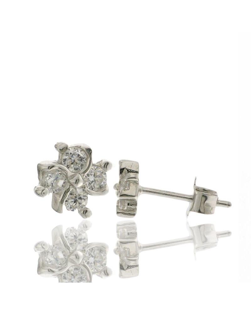 Pendiente de plata rodiada flor con circonita cierre presión