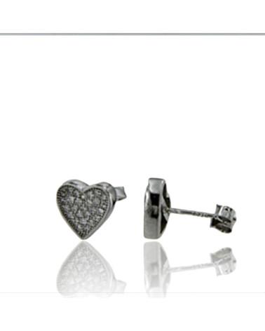 Pendiente de plata rodiada corazón con circonita microengastada con cierre presión