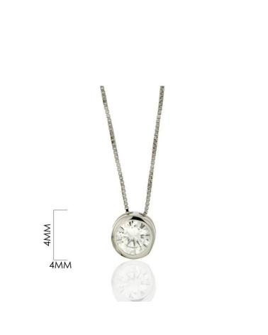 Gargantilla de plata de ley 925 rodiada con circonita 3mm