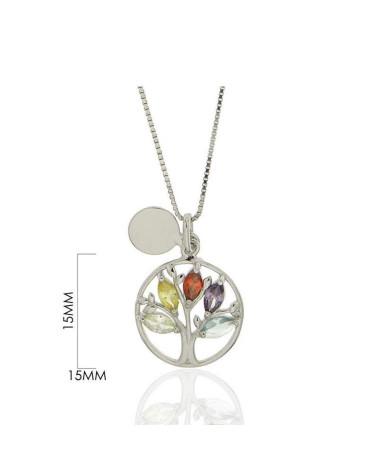 Gargantilla de plata de ley 925 rodiada arbol de la vida con circonita multicolor