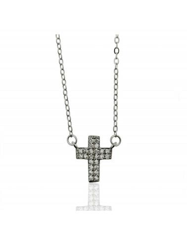 Gargantilla de plata de ley 925 rodiada con forma de cruz con circonita microengastada