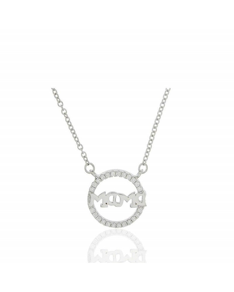 Gargantilla de plata de ley 925 rodiada con forma de luna y estrella microengastada