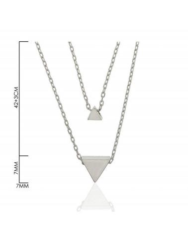 Gargantilla de plata de ley 925 rodiada cadena doble con forma de triangulos