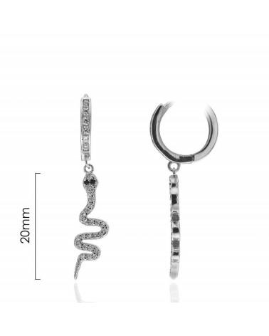 Aros de plata de ley 925 rodiados con serpiente colgando