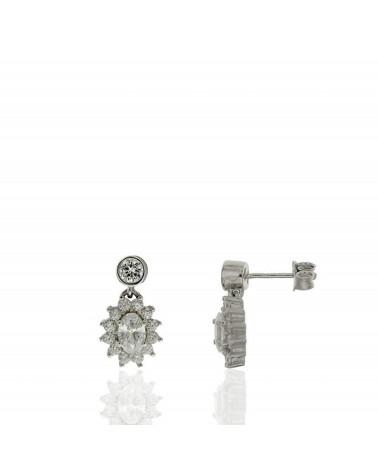 Pendiente de plata de ley 925 rodiada con roseta colgando y circonitas microengastadas