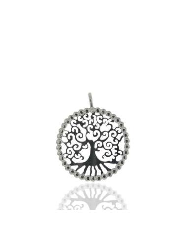 Colgante de plata de ley 925 rodiada con forma de arbol de la vida