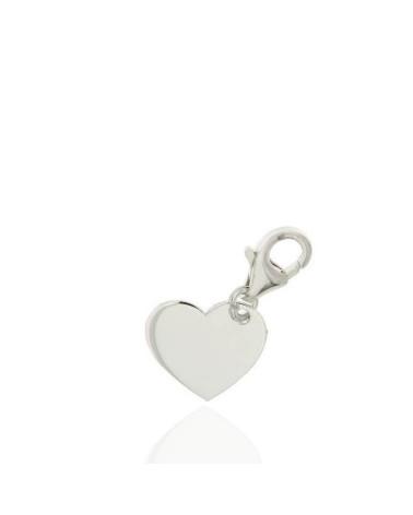 Colgante de plata de ley 925 rodiada con forma de corazón cierre mosquetón