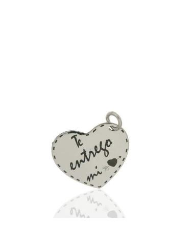 Colgante de plata de ley 925 rodiada en forma de corazón i love you