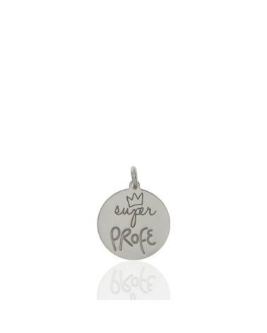 Colgante de plata de ley 925 rodiada en forma de chapa redonda siempre juntos