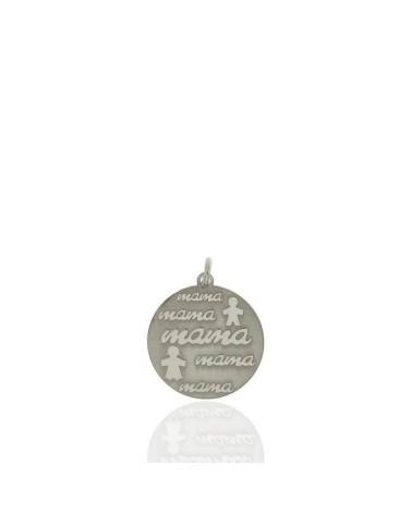 Colgante de plata de ley 925 rodiada en forma de chapa redonda te entrego mi corazón
