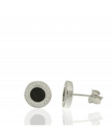 Pendiente de plata de ley 925 rodiada circulo onix circonitas microengastados con cierre de presión