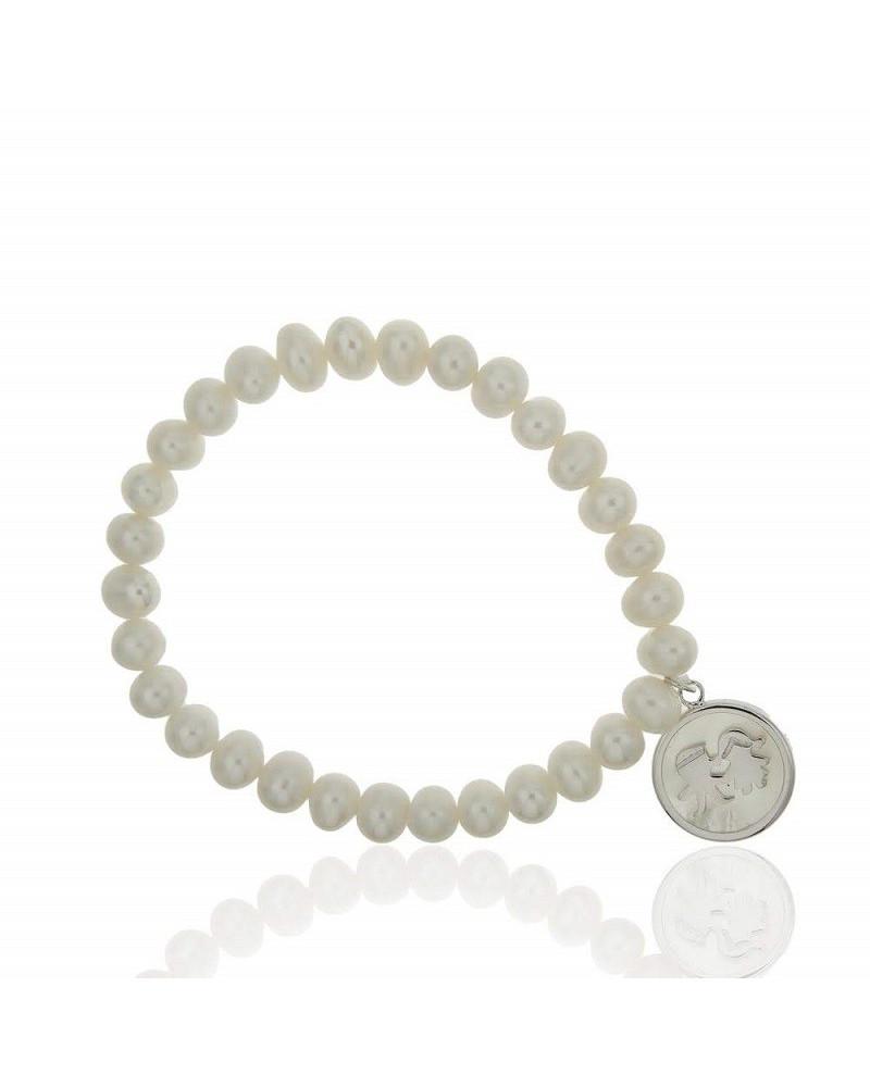 Pulsera de plata de ley 925 rodiado perlas con base de nacar y niño