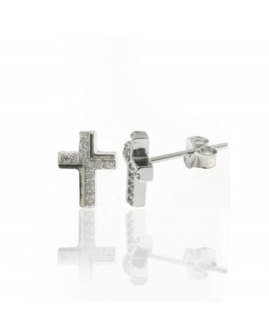 Pendiente de plata de ley 925 rodiada,con forma de cruz circonitas microengastadas y cierre presión