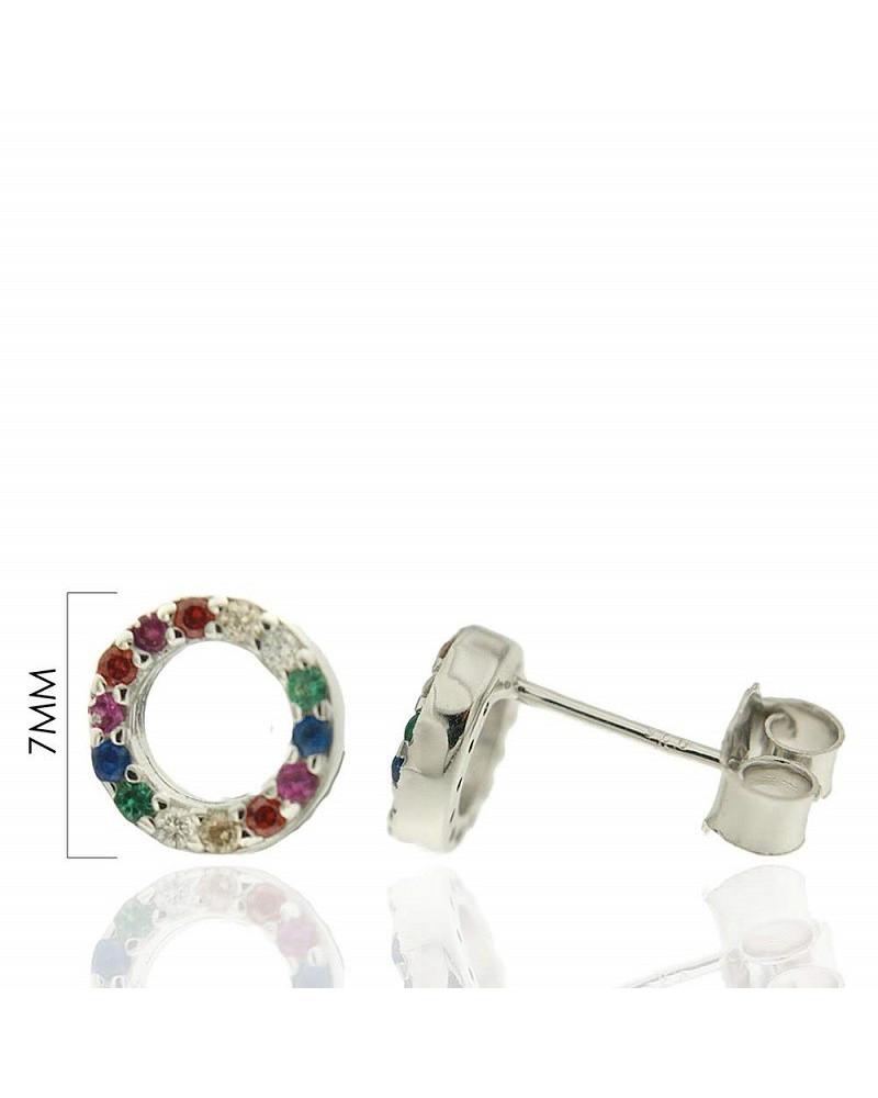 Pendientes de plata de ley 925 rodiada con forma de rayo y circonitas microengastadas multicolor