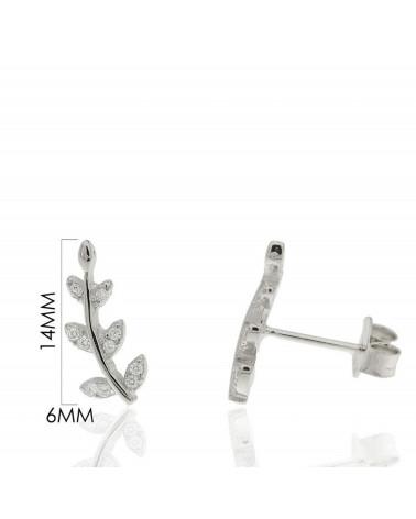 Trepadores de plata de ley 925 rodiada con forma alargada y circonitas microengastadas
